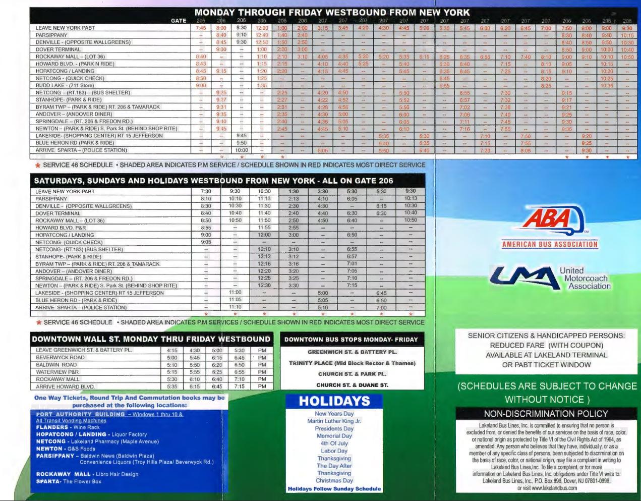 Bus Schedules Lakeland Bus Lines Inc